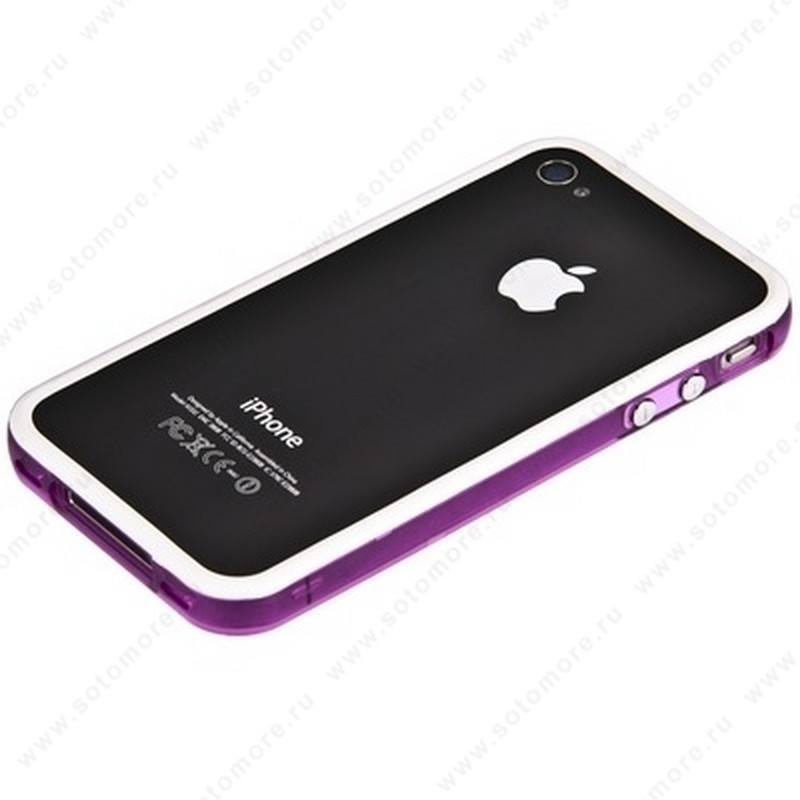 Бампер для iPhone 4s/ 4 белый с фиолетовой полосой