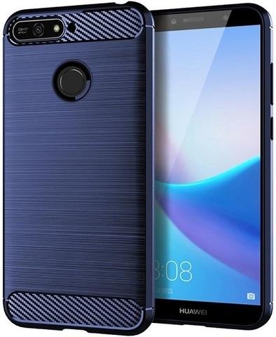 Чехол Huawei Y6 Prime 2018 (Enjoy 8E, Honor Play 7A Pro) цвет Blue (синий), серия Carbon, Caseport