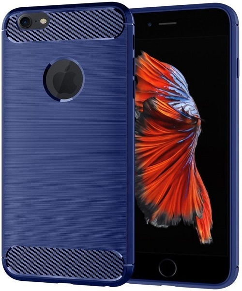 Чехол iPhone 6 Plus (iPhone 6S Plus) цвет Blue (синий), серия Carbon, Caseport