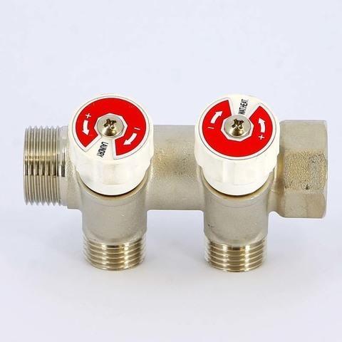 Коллектор НВ 3/4' 2х3/4 EK H 40мм никелированный с вентилями Uni-Fitt