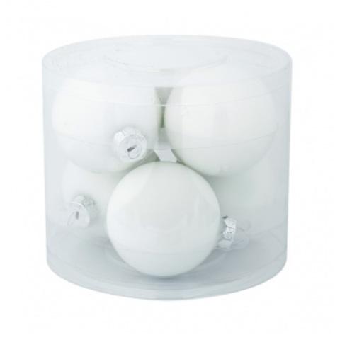 Набор шаров 6шт. в тубе (стекло), D8см, цветовая гамма: белые