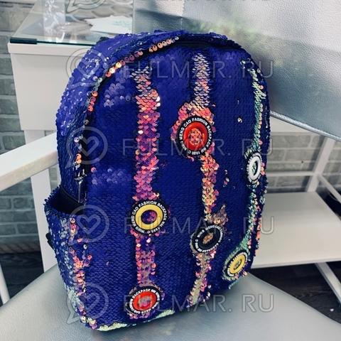 Рюкзак большой в двусторонних пайетках Лиловый переливающийся-Фиолетовый матовый модель