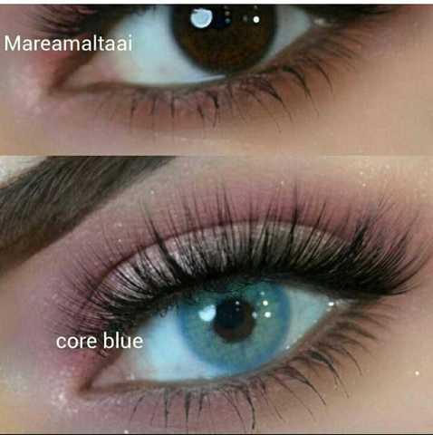 цветные голубые линзы для темных карих глаз MARQUISE - аквамарин, океан
