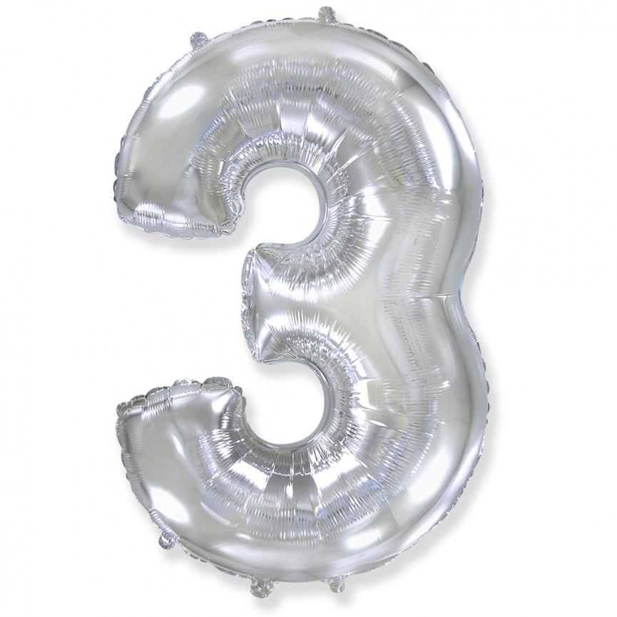 Фольгированный шар цифра 3 серебряная