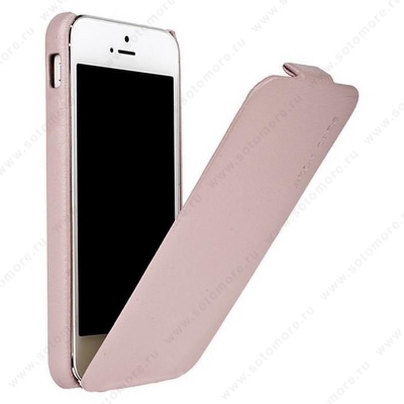 Чехол-флип Jisoncase для iPhone SE/ 5s/ 5C/ 5 цвет светло-розовый JS-IP5-07H