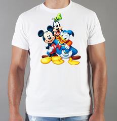 Футболка с принтом Микки Маус, Гуфи, Дональд Дак (Mickey Mouse/ Goofy/ Donald Duck) белая 001