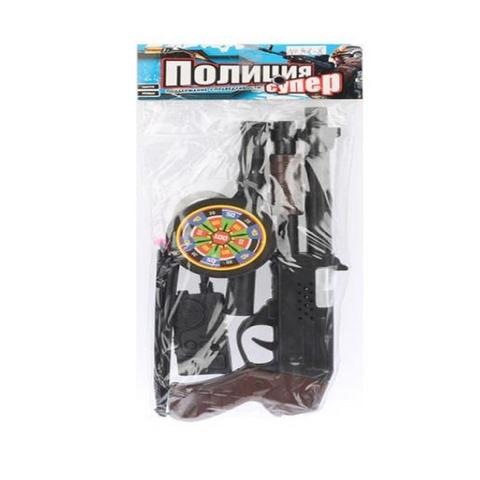 Полицейский набор с пистолетом, мишенью и наручниками в пак.., 1кор*1бл*3шт