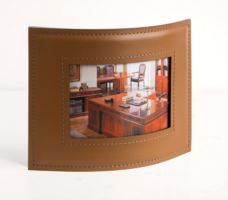 Рамка для фото горизонтальная 10х15 см кожа Cuoietto цвет табак.
