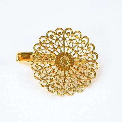 Основа для заколки с филигранью 38 мм, 45х38 мм  (цвет - золото)