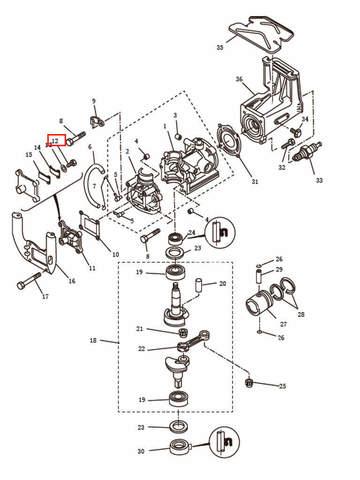 Винт М4,8х12   для лодочного мотора T2,5 SEA-PRO (2-12)