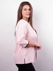 Вега. Оригинальная женская блуза плюс сайз. Пудра.