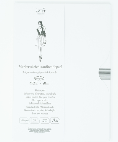 Альбом для маркеров Authentic for Markers 100г/м2, A4, 50 листов в папке, склейка по длинной стороне