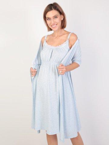Euromama/Евромама. Комплект для беременных и кормящих с коротким рукавом и кружевом, меланж голубой