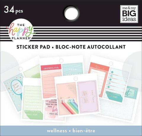 Блокнот со стикерами для ежедневника Happy Planner Tiny Sticker Pad- Wellness- 34 шт