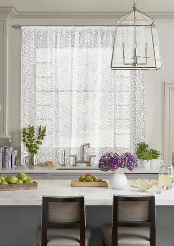 Готовая штора для кухни органза деворе Меандер белый