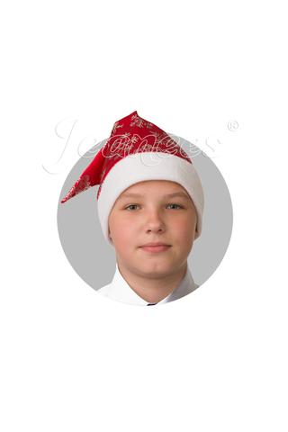 Колпак Деда Мороза (красный сатин со снежинками)