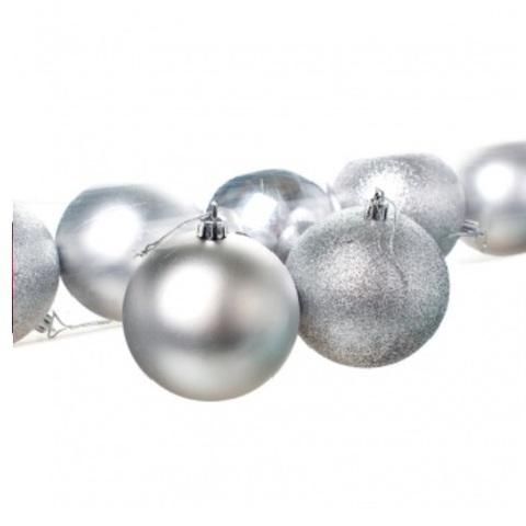 Набор шаров в тубе 8шт. (пластик), D8см, цвет: серебро