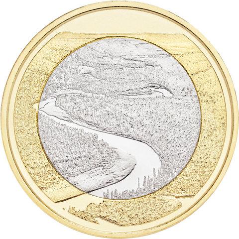 5 евро 2018 год Финляндия - ландшафт реки Оланга