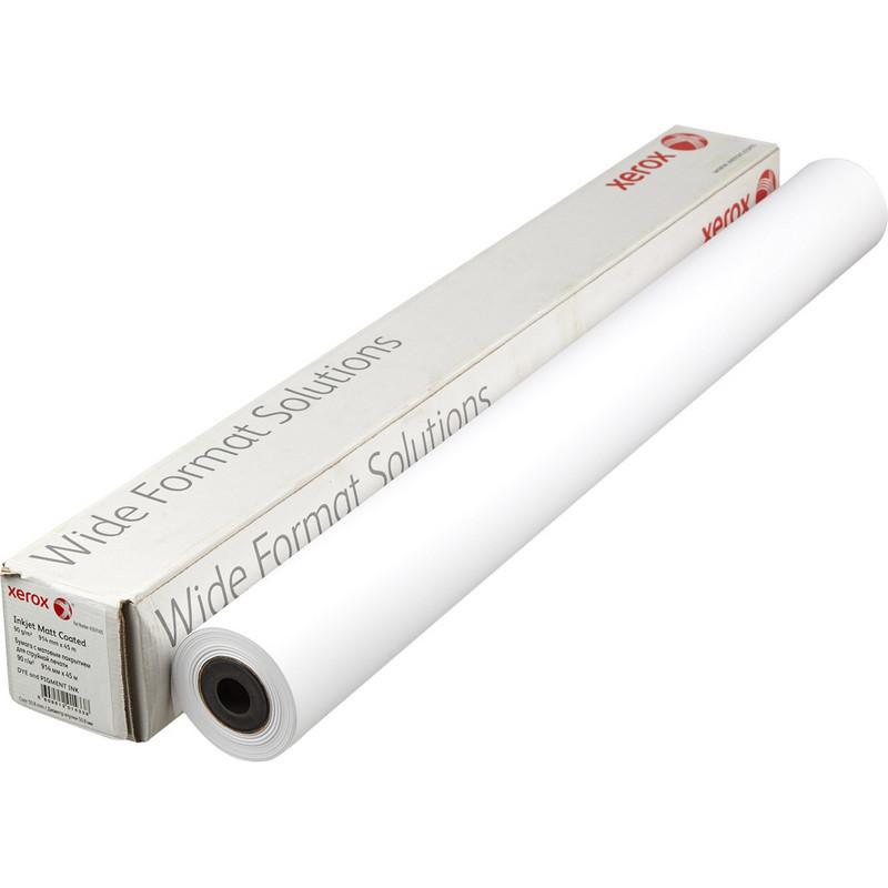 Бумага широкоформатная Xerox Inkjet Matt Coated (длина 45 м, ширина 914 мм, плотность 90 г/кв.м, белизна 145% CIE, диаметр втулки 50,8 мм)