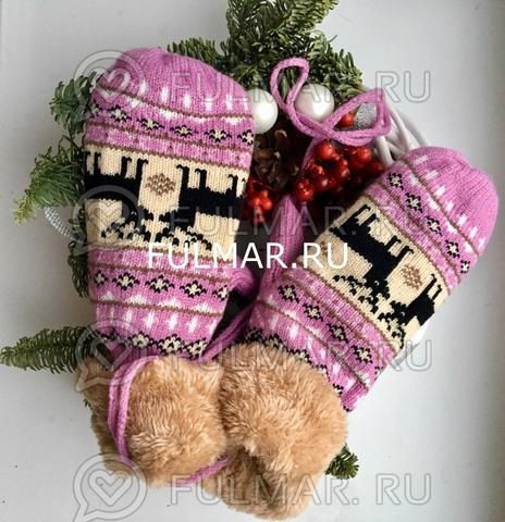 Варежки с оленями шерстяные (Цвет: розовый) на веревочке