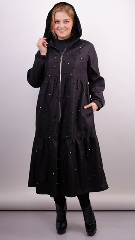 Аннет жемчуг. Модный плащ для пышных женщин. Черный.