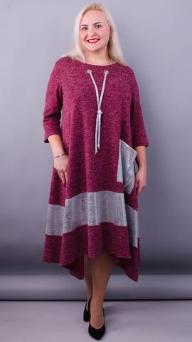 Лола. Праздничное платье больших размеров. Бордо.