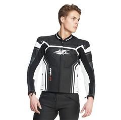 Мотокуртка кожаная спортивная  Sweep GPR Sport EVO, чёрный/белый