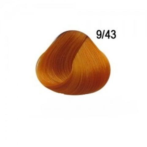 Перманентная крем краска для волос Ollin 9/43  медно золотистый блондин