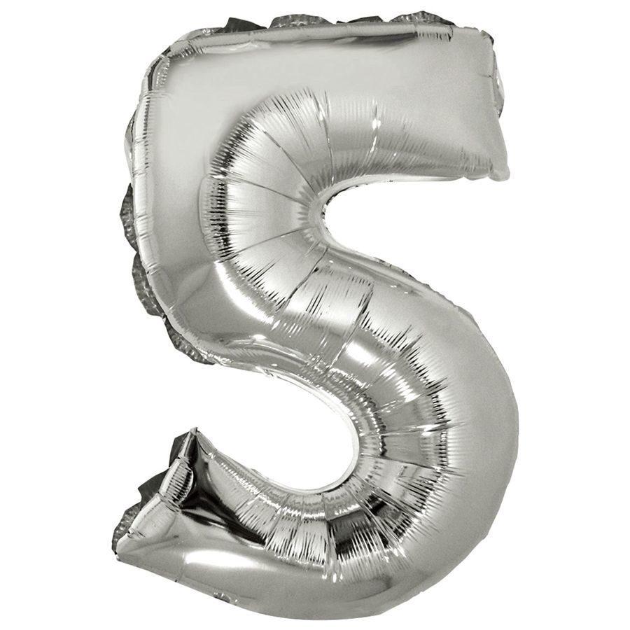 Фольгированный шар цифра 5 серебряная