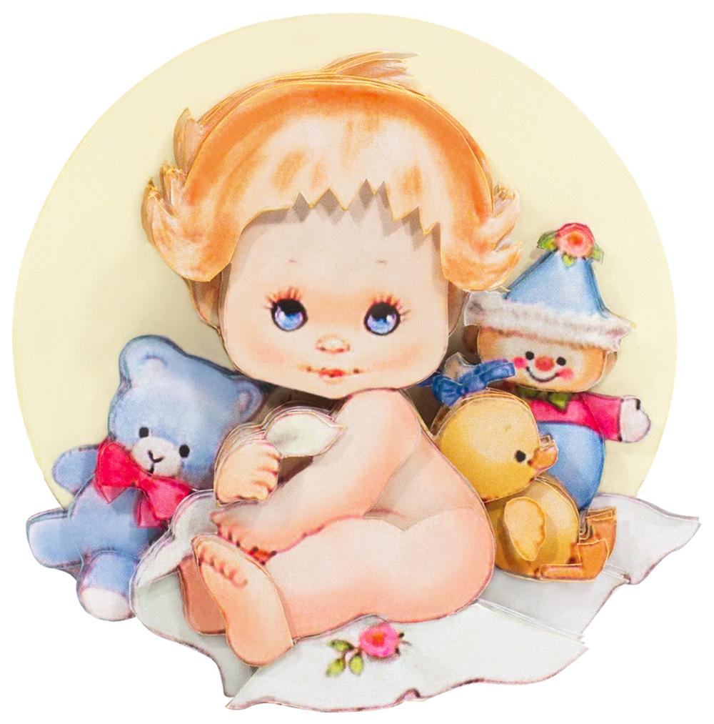 Папертоль Малыш с игрушками — готовая работа, вид спереди.