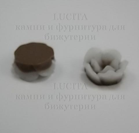 Кабошон акриловый двухцветный коричневый 13х6 мм ()