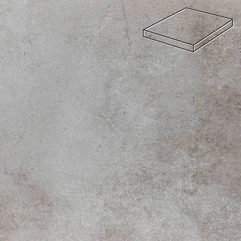 Stroeher - Keraplatte Aera Т 705 beton 340х340х35х11 артикул 9441 - Угловая клинкерная ступень прямоугольная Loftstufe