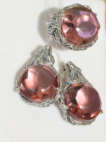 Крона (кольцо + серьги из серебра)