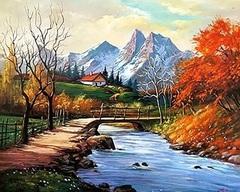 Картина раскраска по номерам 30x40 Мост к домику в горах
