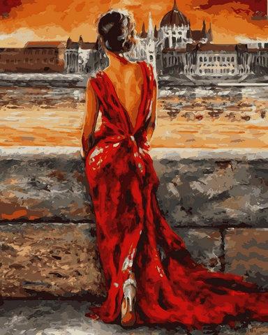 Алмазная Мозаика 30x40 Девушка в красном у воды