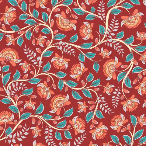 Переплетающиеся цветочные ветви на темно-красном фоне. Индийский стиль. (Дизайнер Irina Skaska)