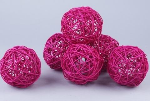 Плетеные шары из ротанга (набор:6 шт., d10см, цвет: фуксия)