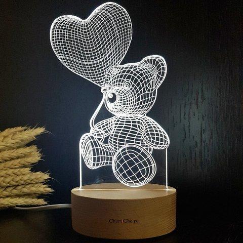3D светильник-Мишка с шариком