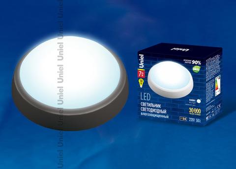 ULW-R02-7W/DW IP54 BLACK Круг. Светильник светодиодный влагозащищенный (пластиковый корпус). 7Вт, 510 Лм, 5500K (дневной свет), IP54, 220В. Цвет корпуса - черный. Упаковка коробка