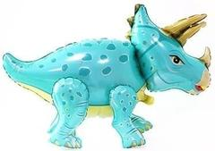 Шар (36''/91 см) Ходячая Фигура, Динозавр Трицератопс, Бирюзовый, в упаковке 1 шт.