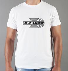 Футболка с принтом Harley-Davidson (Харли-Дэвидсон) белая 0041