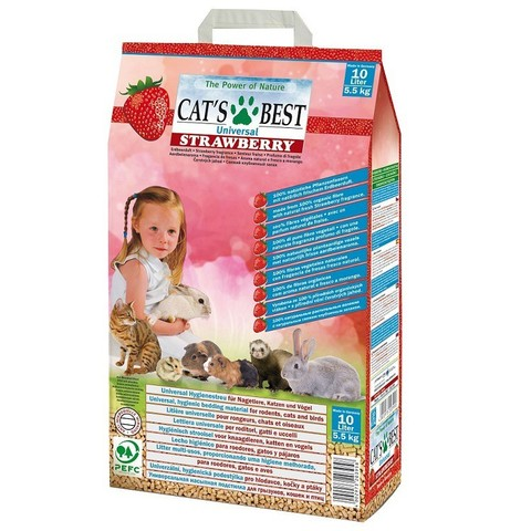 Древесный впитывающий универсальный наполнитель Cats Best Universal Strawberry