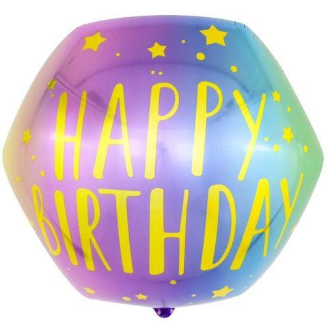 Фольгированный шар «С днем Рождения», радужный градиент, 53 см