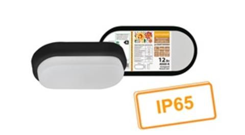 Светодиодный светильник LED ДПП 2802 12Вт 990 лм 4000К IP65 чёрный овал 200*100*46 мм Народный