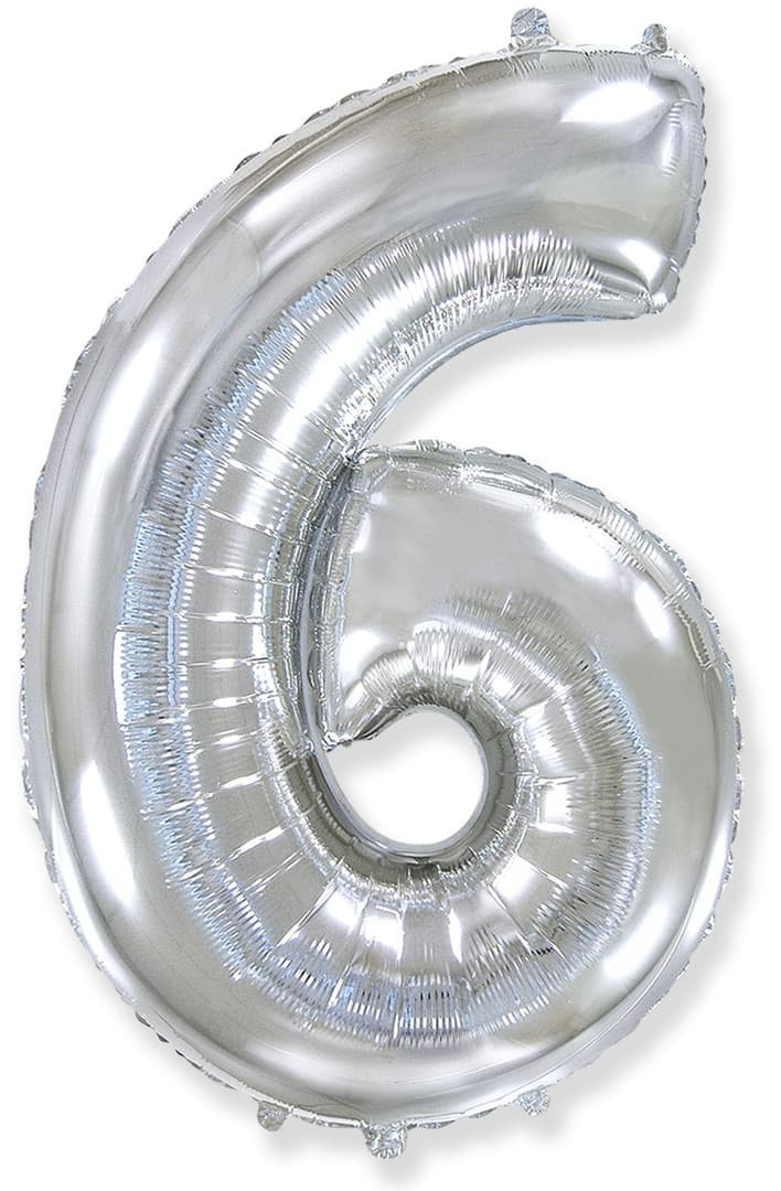 Фольгированный шар цифра 6 серебряная