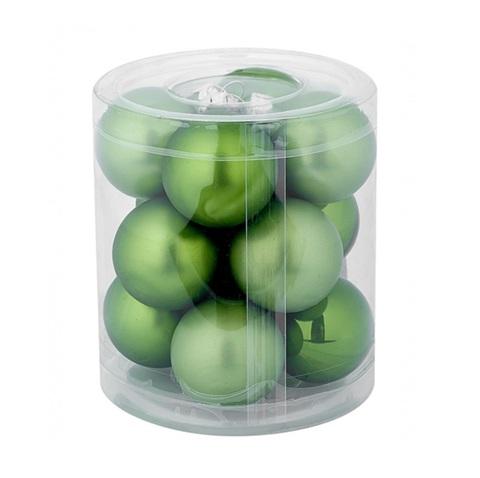 Набор шаров 12шт. (стекло), D3см, зелёный микс