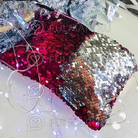 Клатч-сумочка на молнии детская с пайетками меняющая цвет Малиновый-Серебристый