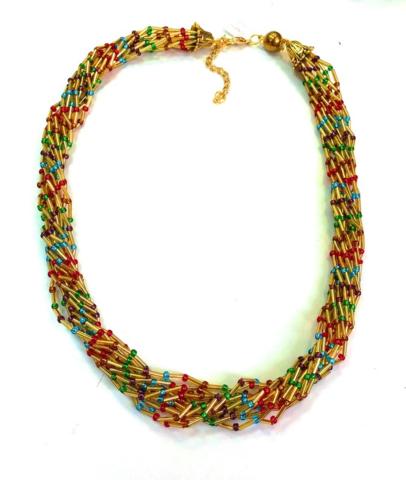 Бисерное ожерелье Facilità из 12 нитей золотистое мультиколор