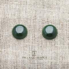 Кабошон круглый Д 15мм. Зелёный нефрит (класс моде).