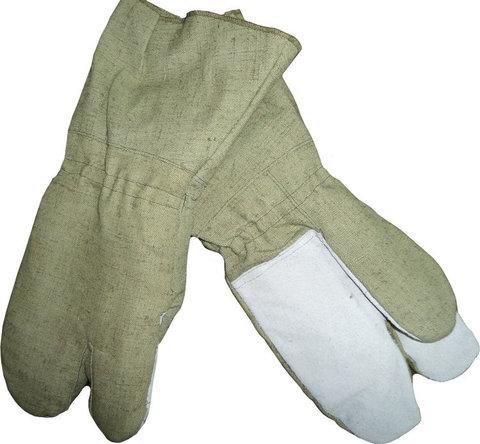 Перчатки с крагами трехпалые